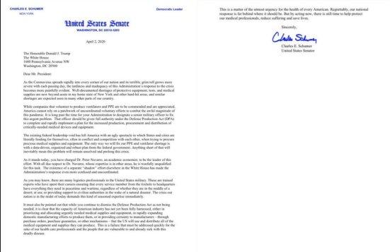Schumer to Trump letter