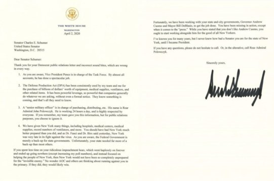 Trump to Schumer letter